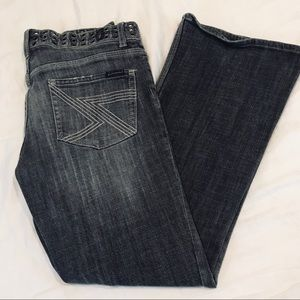 7 for all mankind gray jeans grommet detail waist